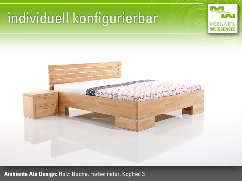 Massivholzbetten design  Massivholzbett Ambiente Alu Design, Massivholzbetten Werksverkauf