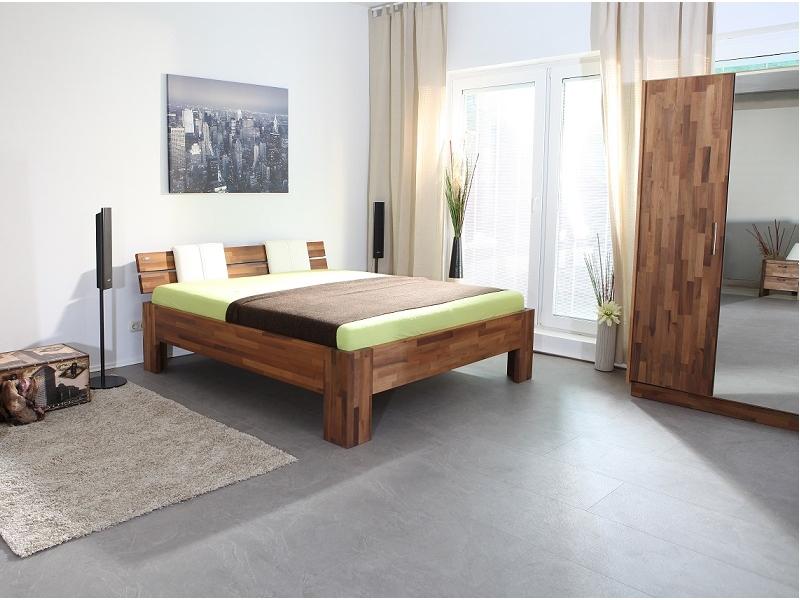 Massivholzbett Mailand Fußvariante 3 Nussbaum, Massivholzbetten