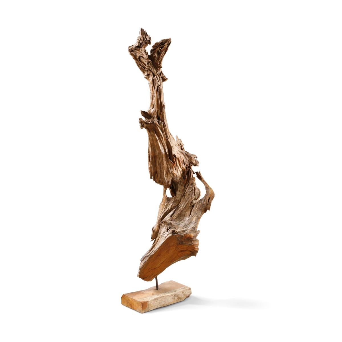 Holz Skulptur Treibholz 100cm Hoch Teak Wurzelholz Holzdeko Garten De