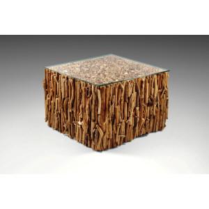 CouchtischTeak Holz massiv 110 cm Teakholz Baumscheibe Tisch Holztisch Wurzel
